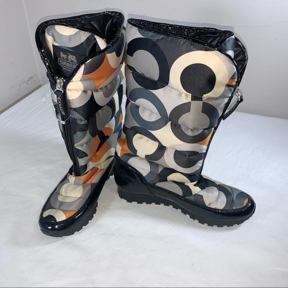 COACH OPTIC ART SIGNATURE LOGO JOLT Puffy BOOTS